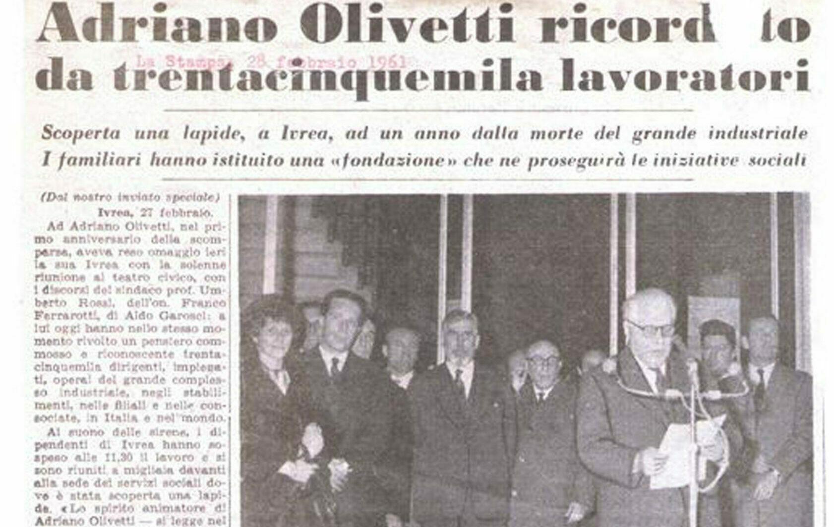 articolo nascita Fondazione Adriano Olivetti