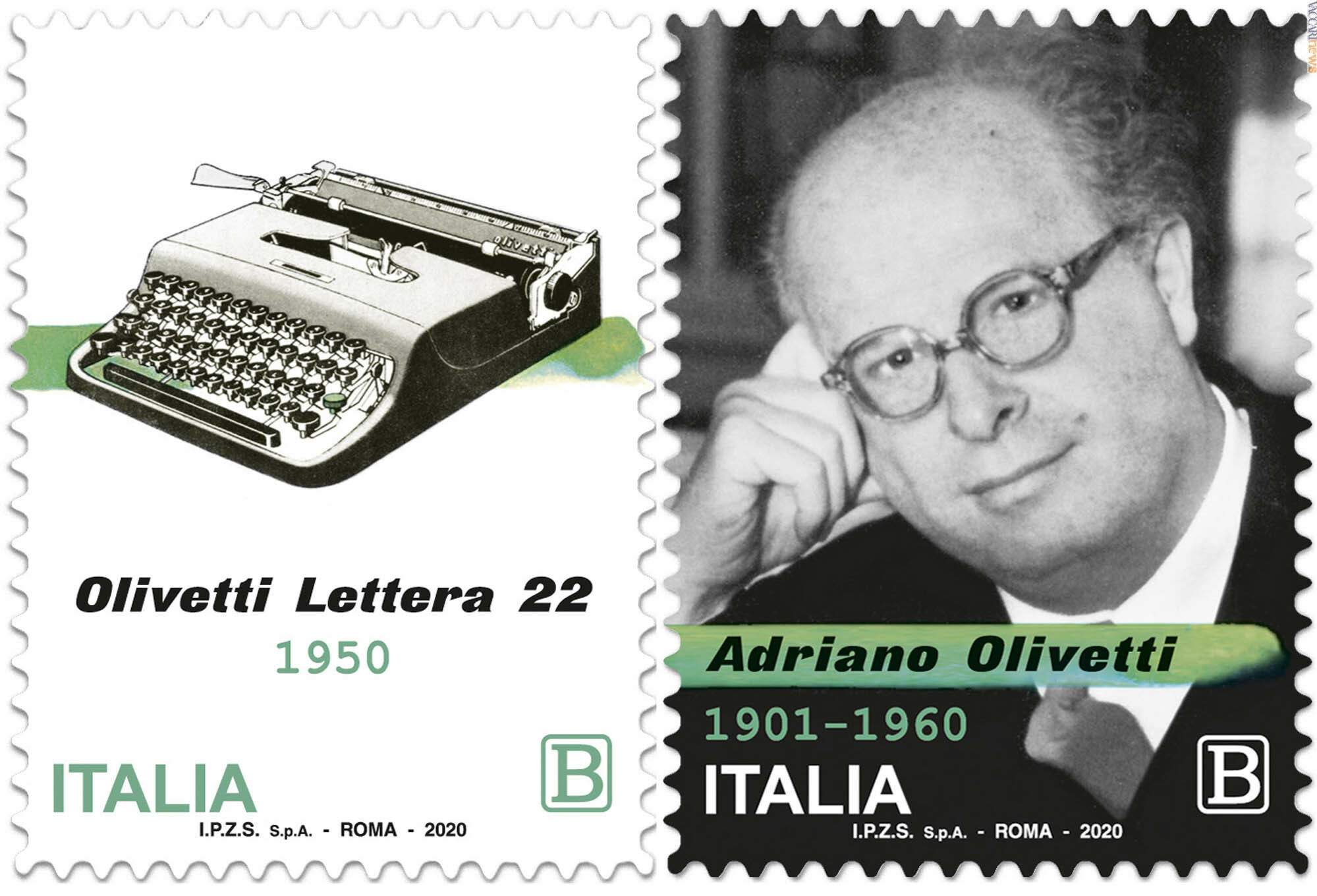 francobollo Adriano Olivetti Lettera 22